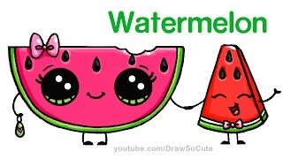getlinkyoutube.com-How to Draw Watermelon Slice Cute step by step Easy - Cartoon Food