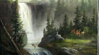getlinkyoutube.com-Landscape oil painting | Cascading Waterfall | Paint with Kevin Hill