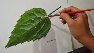 getlinkyoutube.com-Realistic Leaf Acrylic Painting in Time-lapse by JM Lisondra