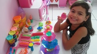 Brincando massinha play-doh cupcake, sweet shoppe