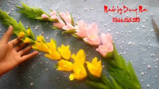 How to make Gladiolus Crepe paper Flowers | handmade by Dzung Mac