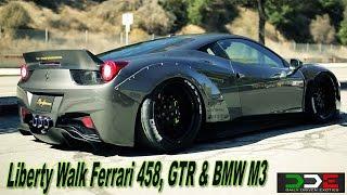 getlinkyoutube.com-Liberty Walk LB Ferrari 458 & GTR Widebody INSANE SOUND FLY BYS!