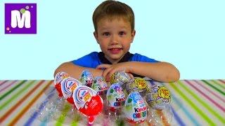 getlinkyoutube.com-Фиксики Тачки Лунтик и Смешарики яйца сюрприз распаковка игрушек Disney Cars Kinder surprise eggs