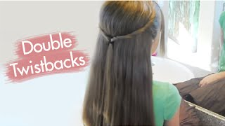 getlinkyoutube.com-Double Twistbacks | Cute Girls Hairstyles