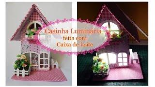 getlinkyoutube.com-Casinha Luminária feita com caixa de Leite-  ATUALIZADA-