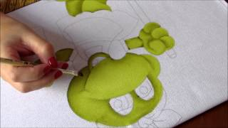 getlinkyoutube.com-Pintura em Tecido - Sapinha secretária do lar!  Parte 1 - Artes Mariana Santos