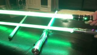 getlinkyoutube.com-COMPARISON: Photon Green Chemically Enhanced Lightsaber String Blade VS Green, Aqua String Blades