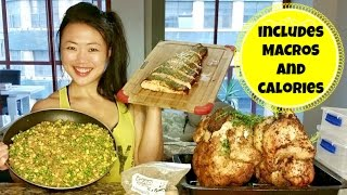 getlinkyoutube.com-♥ MEAL PREP IDEAS with calories and macros! - Vertical Roasted Chicken - Salmon - Protein Oatmeal ♥