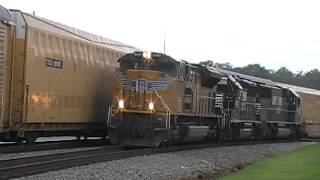 Norfolk Southern 288 NB Meets G1A SB + CAR GETS HIT!!! in Austell,Ga 07-15-2012© (16x9)