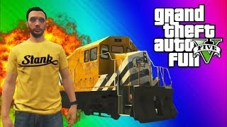 GTA 5 Stopping the Train! (How to Stop the Train, Train Glitch, Online Funny Moments & Fails) width=