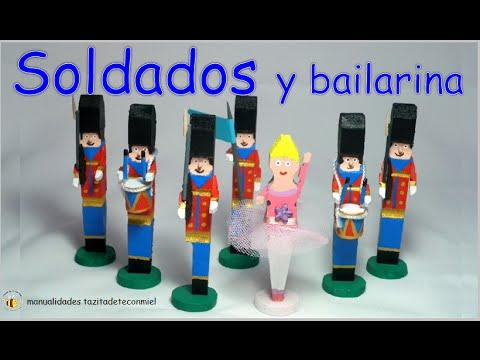 manualidades / soldados y bailarina hechos con pinzas de madera / tutorial / Crafts wooden pegs