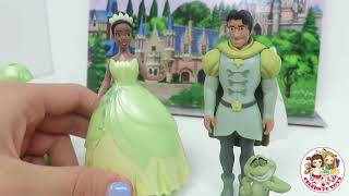 getlinkyoutube.com-New Disney Princess Tiana Deluxe Set with 2 rare Magiclip Dresses Prince Naveen & Frog by Celebnyc