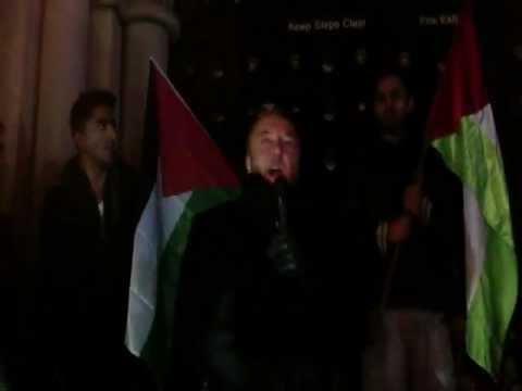 George Galloway & Yvonne Ridley at Bradford Gaza Protest Sunday 18th November 2012