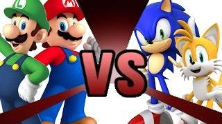 getlinkyoutube.com-MARIO and LUIGI vs SONIC and TAILS! Cartoon Fight Club Episode 3