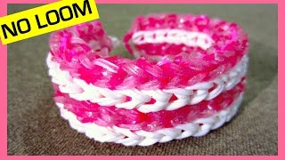 getlinkyoutube.com-Rainbow Loom Bracelet Four-row Fishtail without Loom/ on 2 Forks
