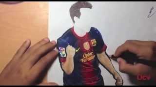 getlinkyoutube.com-ابداع خارق في رسم ليونيل ميسي Creativity in drawing supernatural Lionel Messi