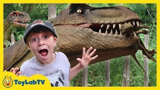GIANT LIFE SIZE DINOSAURS & T-REX! Jurassic Adventure Dinosaur Theme Park Family Fun Kids Activities
