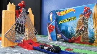 getlinkyoutube.com-Spiderman Web Sling Drop-Out Hot Wheels Track Set
