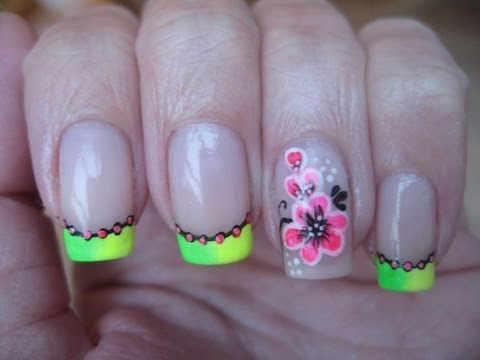 Nail art :Neon french tips and neon flowers