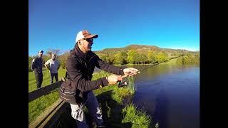 pêche de la truite en lac de réservoir ( Cantal )