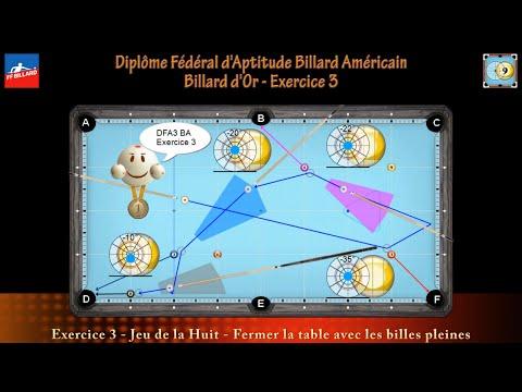 Diplôme Fédéral d'Aptitude Billard Américain - Billard d'Or - DFA3 BA - Exercice 3