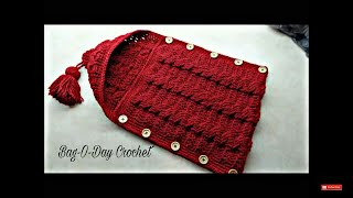 getlinkyoutube.com-CROCHET How to Crochet Cable Stitch Newborn Baby Bunting Cocoon #TUTORIAL #283