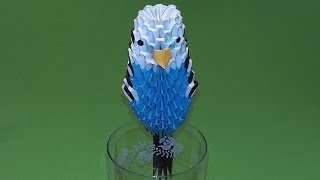 3D origami budgie (budgerigar, bird) tutorial