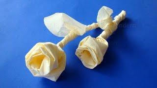 Servietten falten Rose - Origami Rose basteln mit Servietten - DIY Geschenkideen Ostern