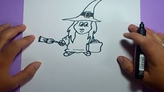 getlinkyoutube.com-Como dibujar una bruja paso a paso 4 | How to draw a witch 4