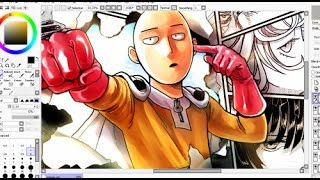 getlinkyoutube.com-One Punch-Man Painting on SAI - Anime / Manga