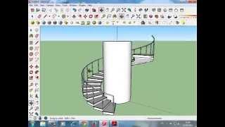 Spiral staircases سلالم حلزونية دائرية  sketchup  سكتش اب