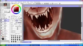 getlinkyoutube.com-How to draw realistic monster with Painttool SAI (Как нарисовать монстра)