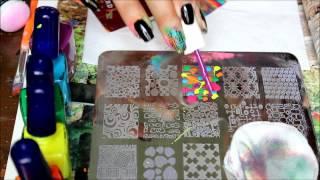 getlinkyoutube.com-nail stamping: multi color stamping design w/ myonline shop plate