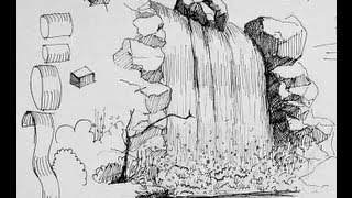 getlinkyoutube.com-Pen & Ink Drawing Tutorials | How to draw a waterfall