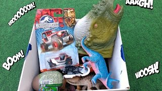 getlinkyoutube.com-Dinosaurs Box Toys, Jurassic World Toys Vehicles, Dinosaur Hand Puppet Toy. Video For Kids!