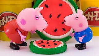 getlinkyoutube.com-Свинка Пеппа и Джордж лепят печенье и арбузные леденцы из Плей До Мультик из игрушек - Серия 96