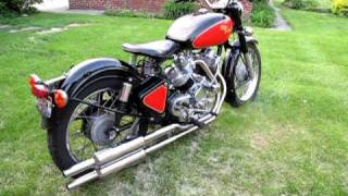 "getlinkyoutube.com-Enfield bullet based V twin ""The Musket"" with mufflers - start, idling, revved."