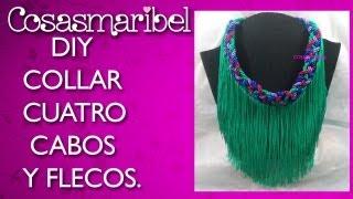 getlinkyoutube.com-DIY:Maxi collar de flecos  con cuatro cabos .