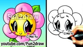 getlinkyoutube.com-Kawaii Tutorial - How to Draw a Flower - Cute & Easy! - Popular Drawing Channels - Fun2draw