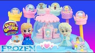getlinkyoutube.com-Frozen ELSA'S BALLROOM SNOW STORM GLITZI GLOBES Anna Olaf Cinderella Belle fun toys