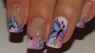 Ombre white and purple Spring fairy Nail Art Video Tutorial! flower,butterfly and pretty pearls