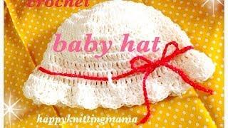 getlinkyoutube.com-【小さめ】0歳の赤ちゃん向けベビーの簡単日除け帽子☆冷房対策にも♪ crochet ☆
