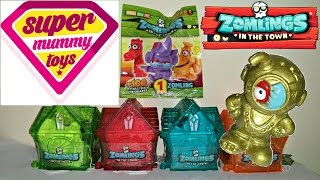 getlinkyoutube.com-Mega Zomlings Series 3 Toy Unboxing with Limited Edition Gold Zomling | Zomlings Serie 3 Casas