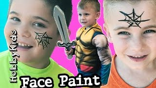 getlinkyoutube.com-Cart Racer + Face Paint! Olaf Wolverine BATTLE and Pizza Vlog HobbyKidsVids