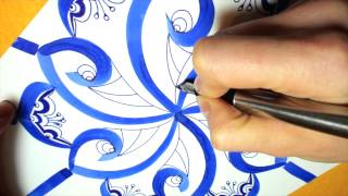 getlinkyoutube.com-blue ink mandala tutorial