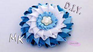 getlinkyoutube.com-ЦВЕТОК Канзаши из атласных лент / DIY Kanzashi flower ribbon/ Djuce Julia