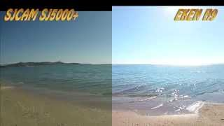 getlinkyoutube.com-sj5000 plus vs Eken H9 side by side: sea, sand and forest