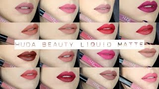 getlinkyoutube.com-Huda Beauty Liquid Matte Lipstick   FULL COLLECTION Swatch & Review