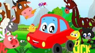 getlinkyoutube.com-Little Red Car Rhymes - Animals Sound Song In Words World | Learn Animal Names, Sounds And Spellings