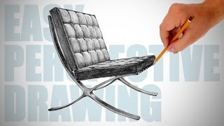 getlinkyoutube.com-How to draw Barcelona chair - Easy Perspective Drawing 16